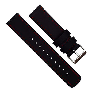 Gear S3 Classic & Frontier | Black Leather & Crimson Red Stitching Gear S3 Watch Band Barton Watch Bands