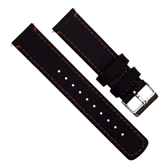 Gear S3 Classic & Frontier | Black Leather & Orange Stitching Gear S3 Watch Band Barton Watch Bands