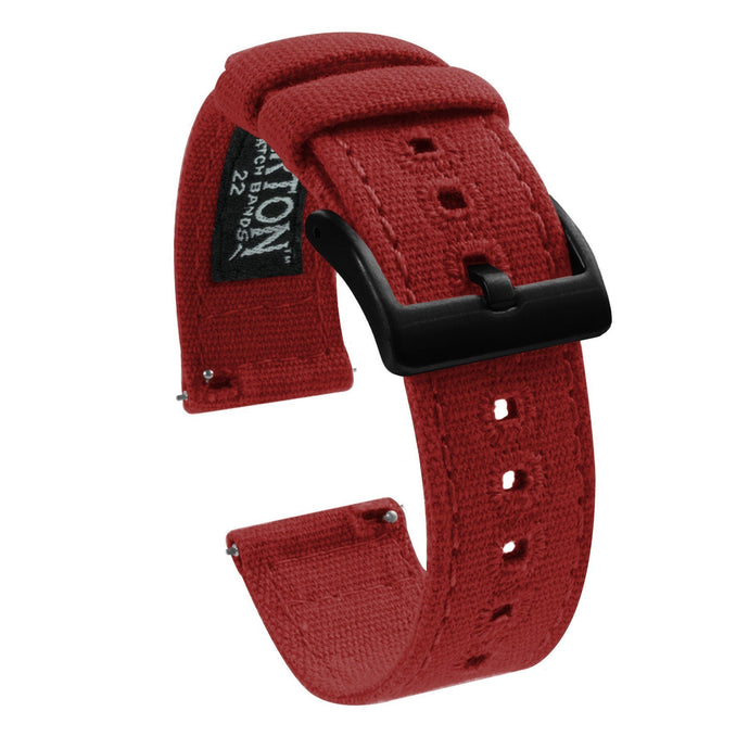 Gear S3 Classic & Frontier | Crimson Red Canvas Gear S3 Watch Band Barton Watch Bands Black PVD