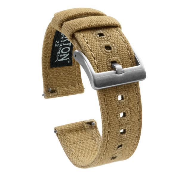 Gear S3 Classic & Frontier | Khaki Canvas Gear S3 Watch Band Barton Watch Bands Stainless Steel