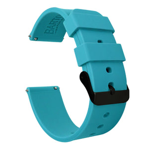 Gear Sport | Aqua Blue Silicone Gear Sport Watch Band Barton Watch Bands Black PVD