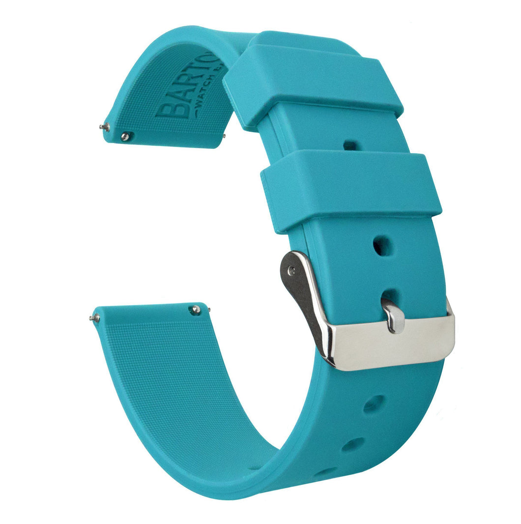 Gear Sport | Aqua Blue Silicone Gear Sport Watch Band Barton Watch Bands Stainless Steel