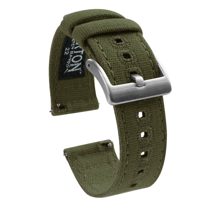 Gear Sport | Army Green Canvas Gear Sport Watch Band Barton Watch Bands Stainless Steel