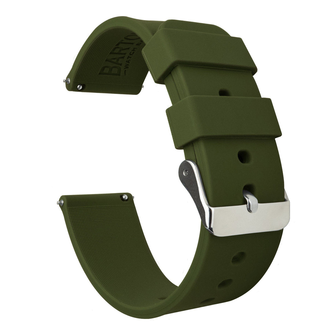 Gear Sport | Army Green Silicone Gear Sport Watch Band Barton Watch Bands Stainless Steel