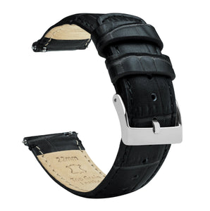 Gear Sport | Black Alligator Grain Leather Gear Sport Watch Band Barton Watch Bands Stainless Steel