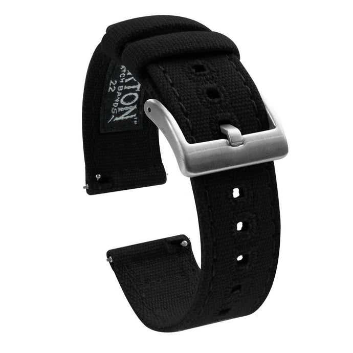 Gear Sport | Black Canvas Gear Sport Watch Band Barton Watch Bands Stainless Steel