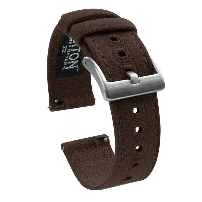 Gear Sport | Chocolate Brown Canvas Gear Sport Watch Band Barton Watch Bands Stainless Steel