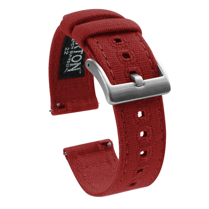 Gear Sport | Crimson Red Canvas Gear Sport Watch Band Barton Watch Bands Stainless Steel