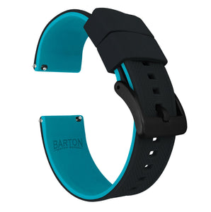 Gear Sport | Elite Silicone | Black Top / Aqua Blue Bottom Gear Sport Watch Band Barton Watch Bands Black PVD