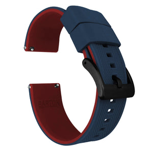 Gear Sport | Elite Silicone | Navy Blue Top / Crimson Red Bottom Gear Sport Watch Band Barton Watch Bands Black PVD