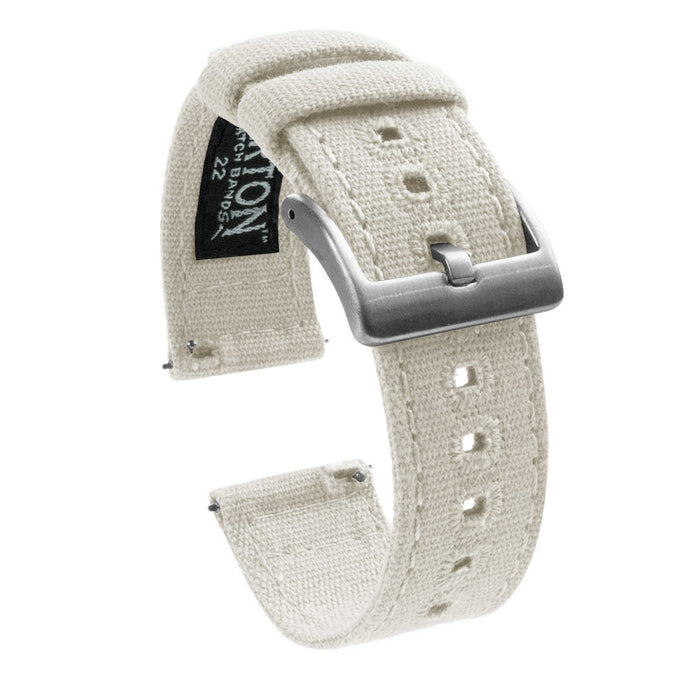 Gear Sport | Linen White Canvas Gear Sport Watch Band Barton Watch Bands Stainless Steel