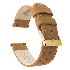 Gingerbread Leather | Linen Stitching Quick Release Leather Watch Bands Barton Watch Bands 20mm Gold Standard