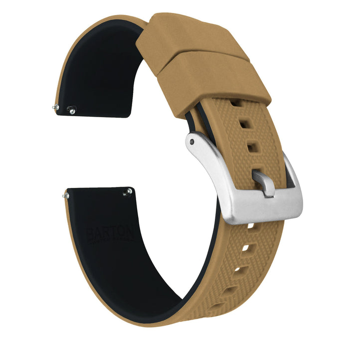 Khaki Tan Top / Black Bottom | Elite Silicone Elite Silicone Barton Watch Bands 22mm Stainless Steel