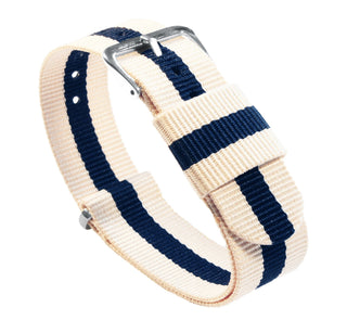 Load image into Gallery viewer, Linen & Navy | Nylon NATO Style NATO Style Nylon Strap Barton Watch Bands