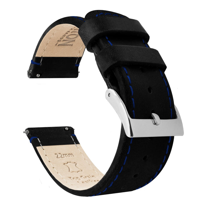 Mobvoi TicWatch | Black Leather & Blue Stitching Mobvoi TicWatch Barton Watch Bands E / C2 Stainless Steel