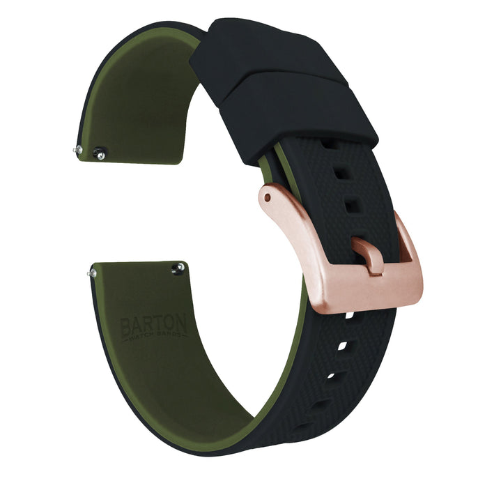 Mobvoi TicWatch | Elite Silicone | Black Top / Army Green Bottom Mobvoi TicWatch Barton Watch Bands E or C2 Rose Gold