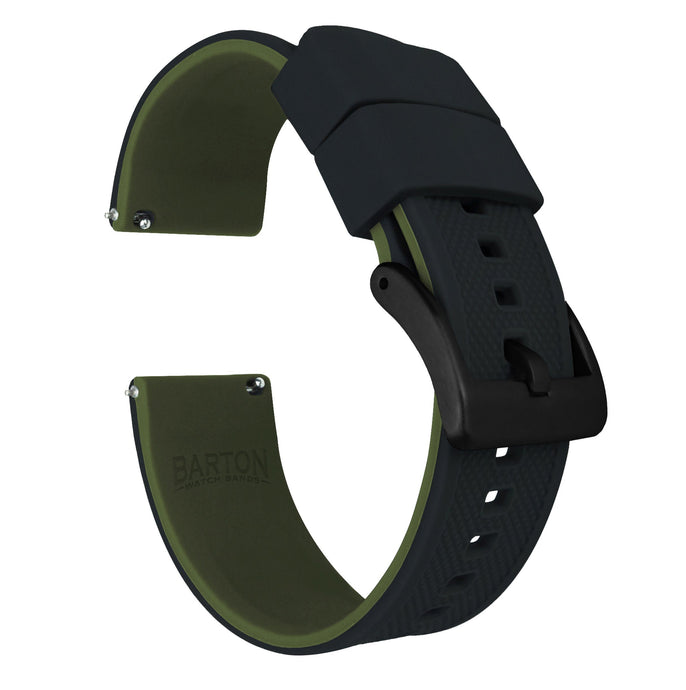 Mobvoi TicWatch | Elite Silicone | Black Top / Army Green Bottom Mobvoi TicWatch Barton Watch Bands Pro / S2 / E2 Black PVD