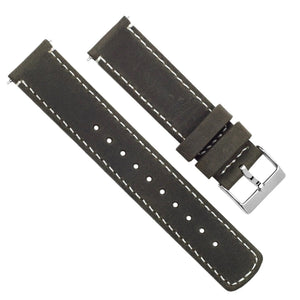 Mobvoi TicWatch | Espresso Brown Leather & Linen White Stitching Mobvoi TicWatch Barton Watch Bands