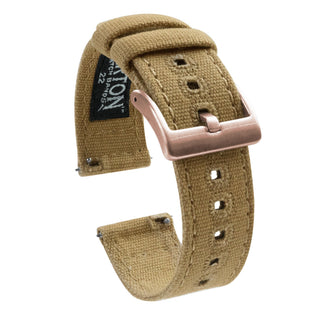 Load image into Gallery viewer, Mobvoi TicWatch | Khaki Canvas Mobvoi TicWatch Barton Watch Bands E / C2 Rose Gold