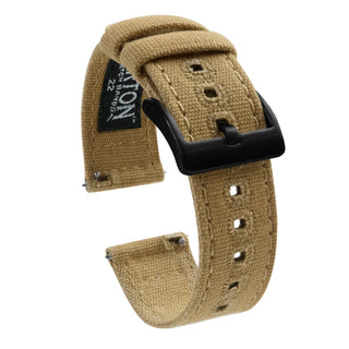 Load image into Gallery viewer, Mobvoi TicWatch | Khaki Canvas Mobvoi TicWatch Barton Watch Bands Pro / S2 / E2 Black PVD