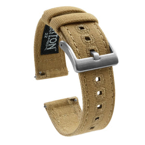 Mobvoi TicWatch | Khaki Canvas Mobvoi TicWatch Barton Watch Bands Pro / S2 / E2 Stainless Steel