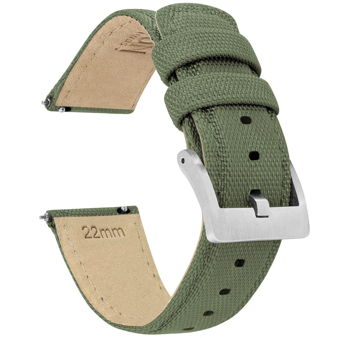 Mobvoi TicWatch | Sailcloth Quick Release | Army Green Mobvoi TicWatch Barton Watch Bands E / C2 Stainless Steel