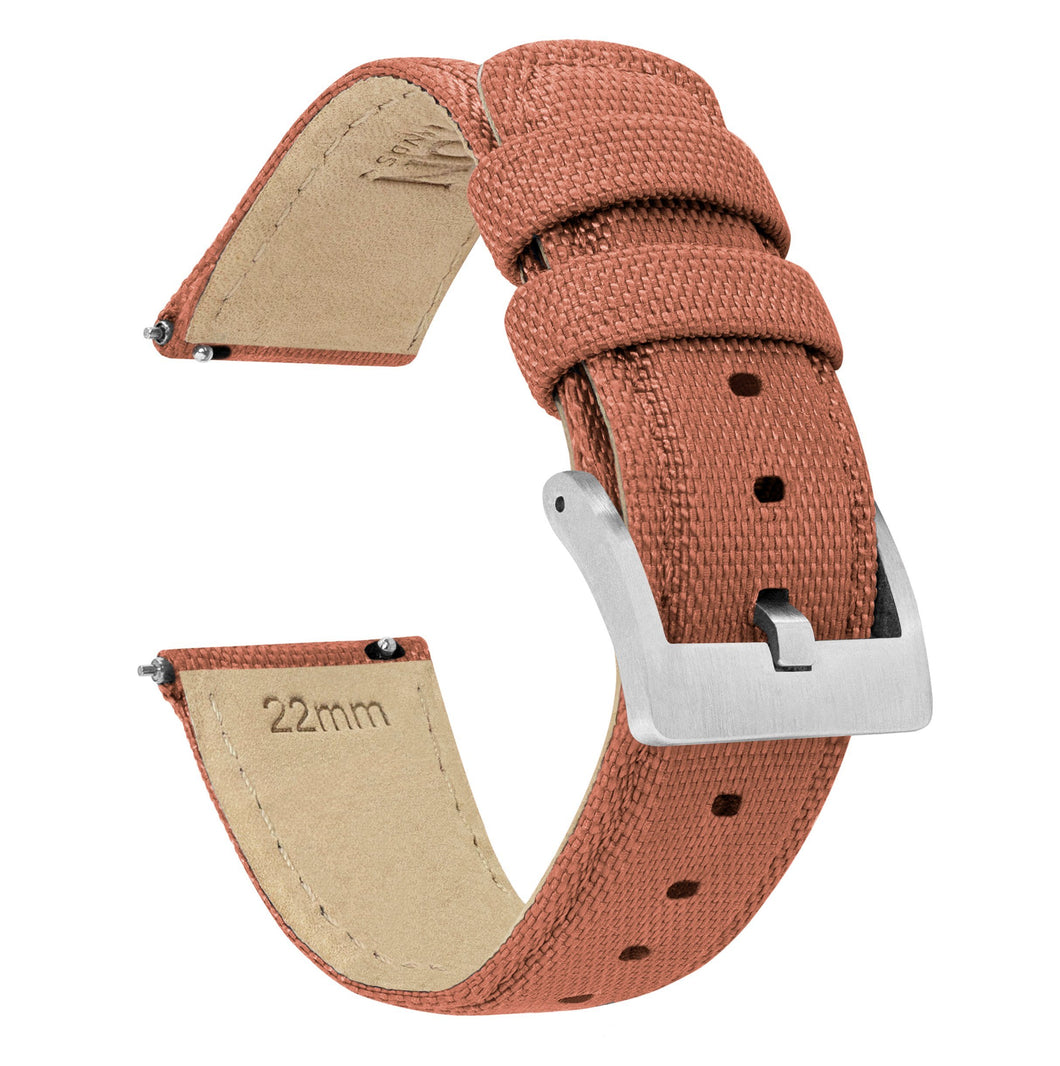 Mobvoi TicWatch | Sailcloth Quick Release | Copper Orange Mobvoi TicWatch Barton Watch Bands Pro / S2 / E2 Stainless Steel