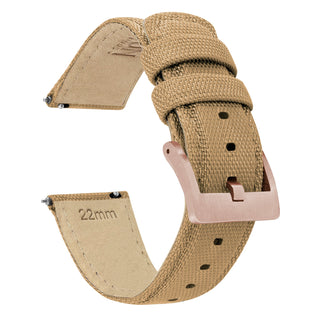 Load image into Gallery viewer, Mobvoi TicWatch | Sailcloth Quick Release | Khaki Tan Mobvoi TicWatch Barton Watch Bands E / C2 Rose Gold