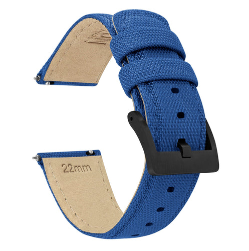 Mobvoi TicWatch | Sailcloth Quick Release | Royal Blue Mobvoi TicWatch Barton Watch Bands Pro / S2 / E2 Black PVD