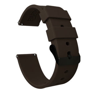 Mobvoi TicWatch | Silicone | Chocolate Brown Mobvoi TicWatch Barton Watch Bands E / C2 Black PVD