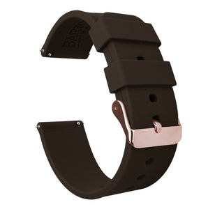 Mobvoi TicWatch | Silicone | Chocolate Brown Mobvoi TicWatch Barton Watch Bands E / C2 Rose Gold