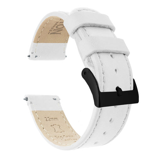 Mobvoi TicWatch | White Leather & Stitching Mobvoi TicWatch Barton Watch Bands E / C2 Black PVD