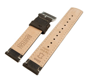 Moto 360 Gen2 | Espresso Brown Leather & Linen White Stitching Moto360 Band Barton Watch Bands
