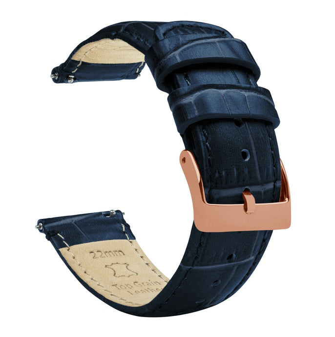 Navy Blue | Alligator Grain Leather Quick Release Leather Watch Bands Barton Watch Bands 18mm Rose Gold Standard