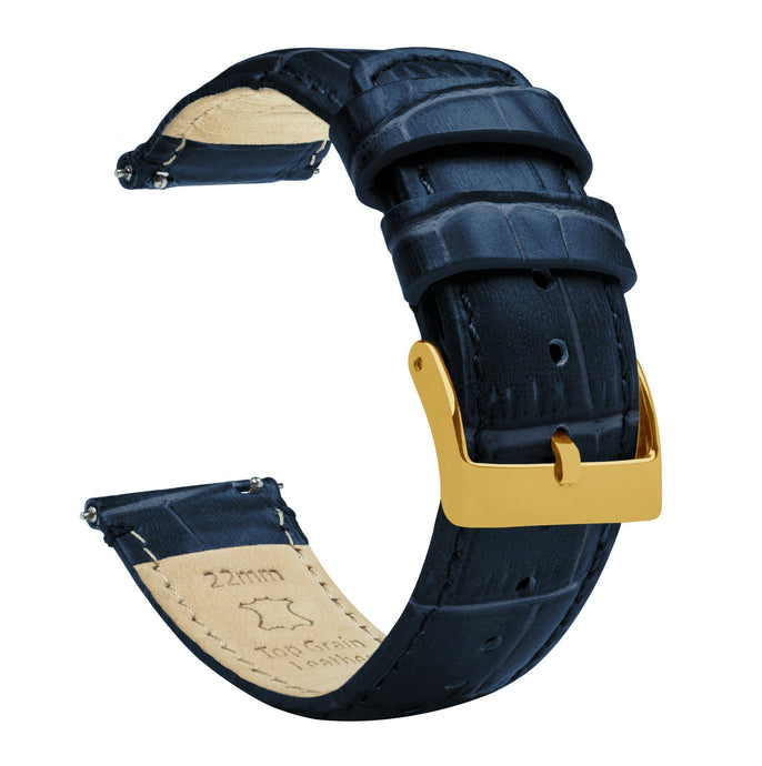 Navy Blue | Alligator Grain Leather Quick Release Leather Watch Bands Barton Watch Bands 20mm Gold Standard