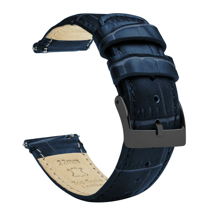 Navy Blue | Alligator Grain Leather Quick Release Leather Watch Bands Barton Watch Bands 20mm Gunmetal Grey Standard