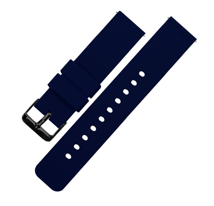 Navy Blue | Soft Silicone Quick Release Silicone Watch Band Barton Watch Bands 16mm Black