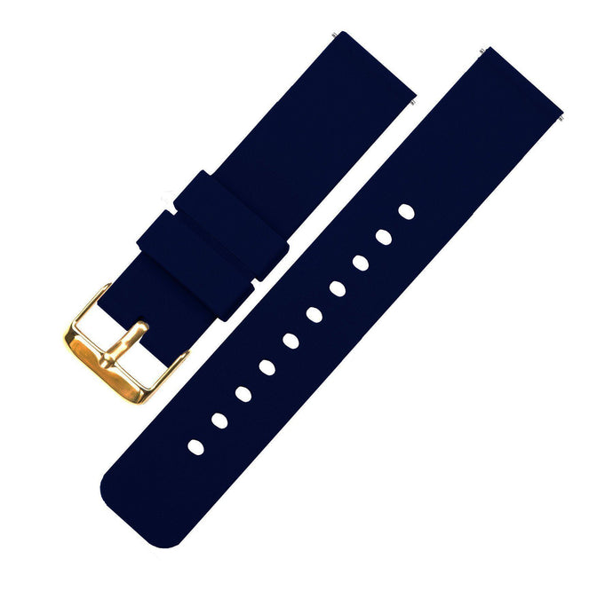 Navy Blue | Soft Silicone Quick Release Silicone Watch Band Barton Watch Bands 16mm Gold