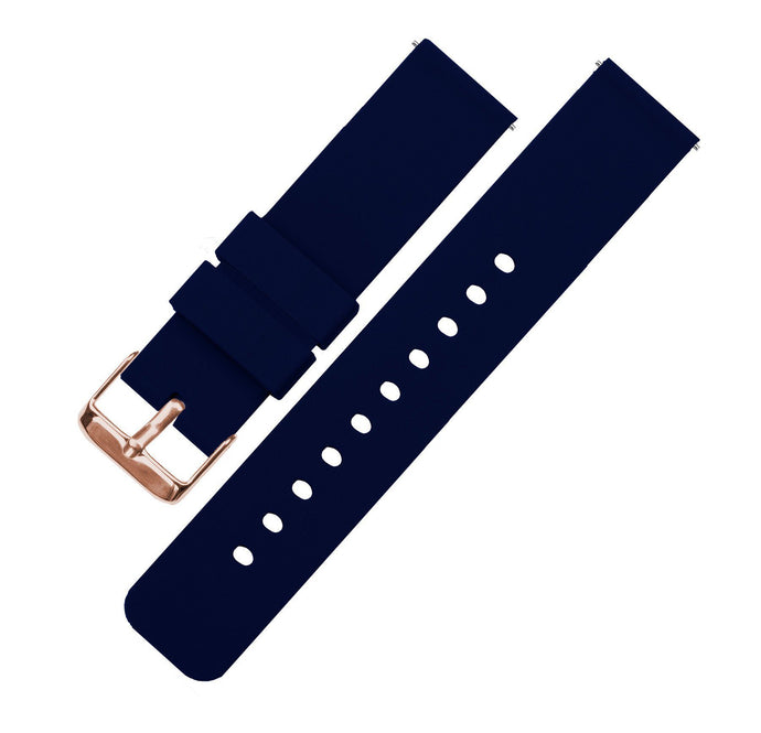 Navy Blue | Soft Silicone Quick Release Silicone Watch Band Barton Watch Bands 16mm Rose Gold