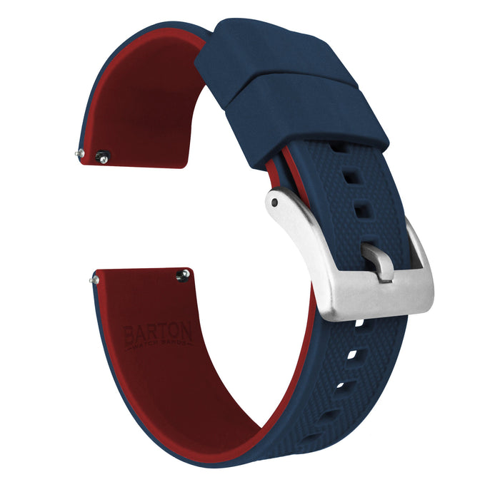 Navy Blue Top / Crimson Red Bottom | Elite Silicone Elite Silicone Barton Watch Bands 18mm Stainless Steel