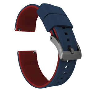 Navy Blue Top / Crimson Red Bottom | Elite Silicone - Barton Watch Bands