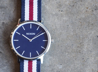 Load image into Gallery viewer, Navy, Crimson & Ivory | Nylon NATO Style NATO Style Nylon Strap Barton Watch Bands