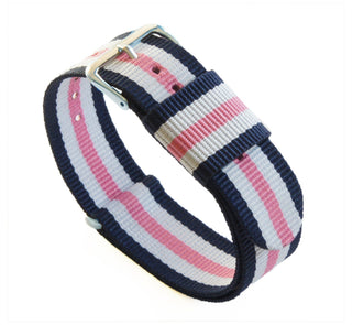 Load image into Gallery viewer, Navy, Pink & Ivory | Nylon NATO Style NATO Style Nylon Strap Barton Watch Bands