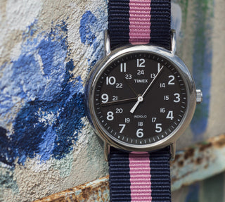 Load image into Gallery viewer, Navy & Pink | Nylon NATO Style NATO Style Nylon Strap Barton Watch Bands