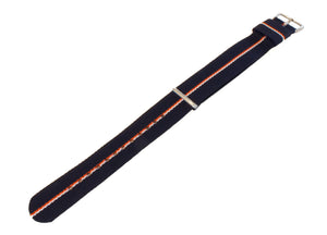 Navy, Pumpkin & Ivory | Nylon NATO Style NATO Style Nylon Strap Barton Watch Bands 22mm Long - 11""