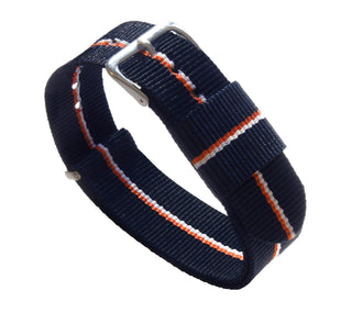 Load image into Gallery viewer, Navy, Pumpkin & Ivory | Nylon NATO Style NATO Style Nylon Strap Barton Watch Bands