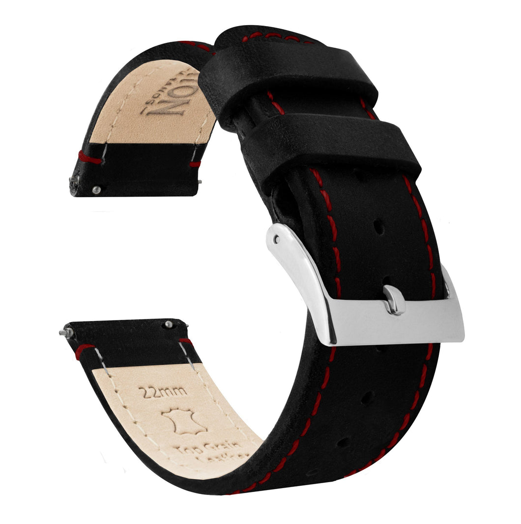 Pebble Smart Watches | Black Leather & Crimson Red Stitching - Barton Watch Bands