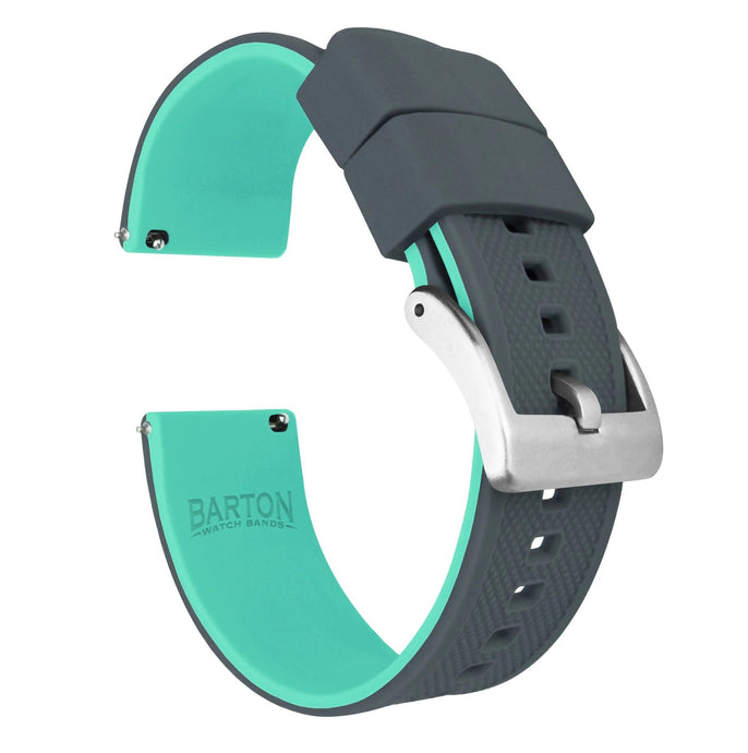 Pebble Smart Watches | Elite Silicone | Smoke Grey Top / Mint Green Bottom Pebble Band Barton Watch Bands