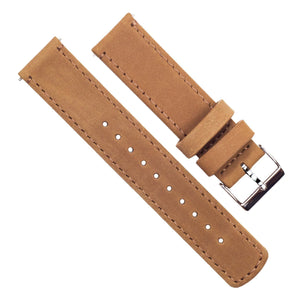 Pebble Smart Watches | Gingerbread Brown Leather & Stitching Pebble Band Barton Watch Bands