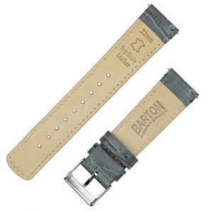 Pebble Smart Watches | Smoke Grey Alligator Grain Leather Pebble Band Barton Watch Bands